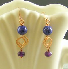 Purple Copper Earrings Crystal Hand Forged by beadifulworld, $35.00