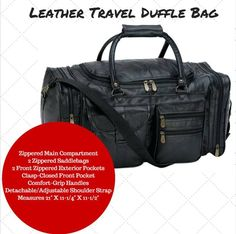 Leather Travel Duffle Bag Black Genuine Overnight Luggage Suitcase Carry On Tote #travelbag #luggage #dufflebag