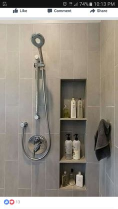 Bathroom tile with inset for bottles