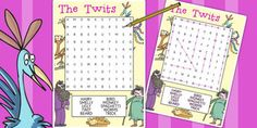 The Twits Wordsearch - wordsearch, the twits, roald dahl, book Roald Dalh, Roald Dahl Activities, The Twits, Kids Poems, Popular Stories, Primary Resources, Interactive Stories, Workshop Ideas, Year 2