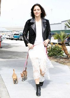 Katharine McPhee Leather Jacket - Katharine McPhee paired a black leather over a lace top and dress for an unexpected duo.