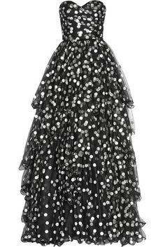 Oscar de la Renta - Polka-dot tiered tulle gown 41c8990de0d