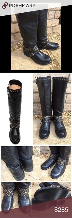 """Frye 🌟Jenna Studded Stud Tall Black Boots 7.5 8 Like new only worn twice-minor scuffs to the outside and minor normal wear to soles. Size 7.5 runs true/a little roomy. May fit a narrow 8. No box. Vintage leather upper. Pull-on design. Features brass stud accents and buckle decor on shaft collar and vamp. Smooth leather lining. Smudgy Lightly cushioned leather footbed. Durable leather outsole with combination rubber and leather heel. Measurements: Heel : 1 """" Calf Circumference: 16.5"""" approx…"""