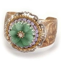 Ollipop Mint Green Flower & Purple Lilac Beads Cuff Bracelet