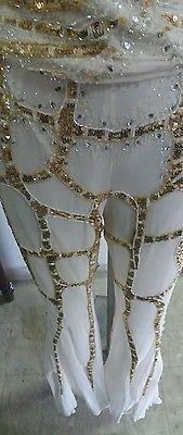 vestito abito donna seta elegante oro top corto pantalone lungo Impero couture