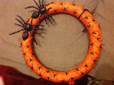 Halloween wreath made with spiders 2014