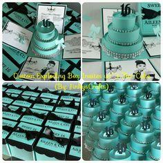 Breakfast at Tiffany's Inspired Invites-Tiffany Blue Invites-Exploding Box Invites w/ 3-Tier Cake-Sweet Sixteen Invites-Custom Invites-Tiffany Blue & Black -DIY Kit Invites
