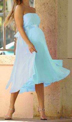 *New* Baby Blue Nicole Michelle Maternity Chiffon Dress - Motherhood Closet - Maternity Consignment