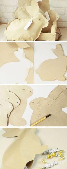 Buste regalo a forma di coniglio: un tutorial semplice per una Pasqua tutta handmade - http://it.dawanda.com/tutorial-fai-da-te/idee-creative/realizzare-busta-regalo-carta-forma-coniglio