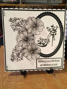 Chloe's small peony stamp and fabulous swirl stamp. Birthday Cards For Women, Handmade Birthday Cards, Tri Fold Cards, Folded Cards, Chloes Creative Cards, Tattered Lace Cards, Heartfelt Creations, Pretty Cards, Homemade Cards