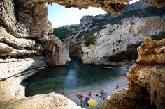 Hidden beach, Stiniva cove, island of Vis, Croatia/Hrvatska