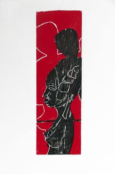 """""""Africa"""", 1990. Color woodcut  from two pieces woodblock. Composition: 13 x 40  cm;  sheet: 50 x 70 cm."""