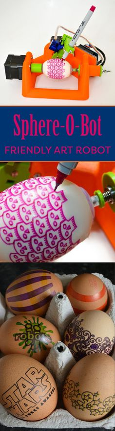 Easy build robot that can draw on spherical and egg shaped objects.