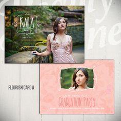 Graduation Announcement Card: Flourish Card A  - 5x7 Senior Card Template. Etsy   Beauty Divine