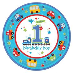 Boy's All Aboard Birthday Paper Plates - - Birthday Party - Party plates - The Hen Party Store 1st Birthday Party Supplies, 1st Birthday Themes, 10th Birthday Parties, 1st Birthday Invitations, Boy First Birthday, 1st Birthdays, Birthday Ideas, Birthday Lunch, Birthday Images