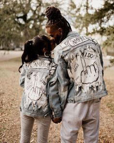 """Custom designed denim jackets for bride and groom that say """"I Do"""" {Photo: New Orleans Photographer / Jackets: Candi Dunn}"""
