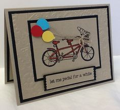 Pedal Pusher by razldazl - Cards and Paper Crafts at Splitcoaststampers Men's Cards, Kids Cards, Stampin Up Cards, Greeting Cards, Bicycle Cards, Pedal Pushers, Bike Rides, Valentine Cards, Masculine Cards
