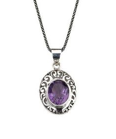 Amethyst & Sterling Silver Filigree Oval Pendant Necklace $29.99 by Zulily