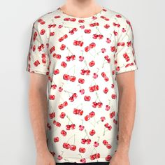 Cherry Pattern All Over Print Shirt  #cherry #pattern #watercolor #fruit #fresh #food #foodie #sweet #nature