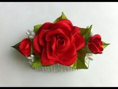 Украшение на гребень Канзаши / Красная Роза с бутонами - YouTube