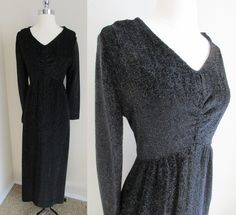 70s Home Tailored Black Sparkle Dress, Empire Waist Runched Bodice Maxi Sz L by GeekGirlRetro on Etsy