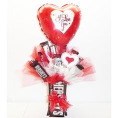 Shop for Hershey's Sweet Candy Bouquet. Get free delivery On EVERYTHING* Overstock - Your Online Gift Baskets Shop! Candy Bouquet Diy, Valentine Bouquet, Diy Bouquet, Valentine Wreath, Valentines Day Baskets, Valentines Day Decorations, Valentine Day Crafts, Printable Valentine, Homemade Valentines