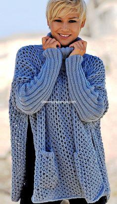Easy to make Knitted Poncho, Crochet Cardigan, Knit Or Crochet, Crochet Shawl, Winter Work Fashion, Coats For Women, Sweaters For Women, Knitting Patterns, Crochet Patterns