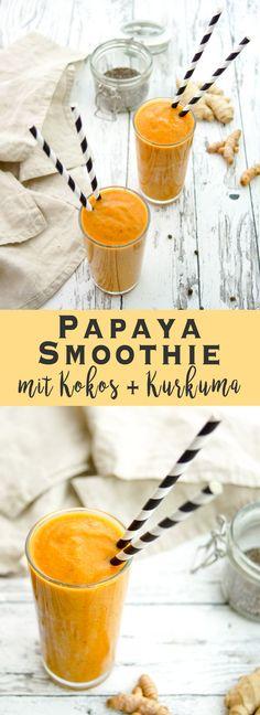 Golden-Drink: Papaya Smoothie mit Kurkuma, Ingwer, Chiasamen, Kokosöl und Zimt. Voller tropischer Aromen. Außerdem sind meine liebsten Superfood-Zutaten darin. Power Drink Rezept mit heilende Kräfte. Einfach und gesund. Anti-aging, Eindämmung von Entzündungen, immun-booster