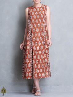 Buy Madder Block Printed Pleated Cotton Dress by Jaypore Online Batik Fashion, Hijab Fashion, Fashion Dresses, Kurti Patterns, Dress Patterns, Linen Dresses, Cotton Dresses, Amarillis, Batik Dress