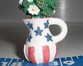 Red white and blue pitcher. 4th of July decoration, Vintage 1970s patriotic miniature pitcher vase.Miniature flowers pitcher, teamvintageusa
