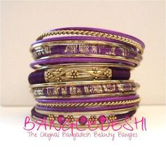 Bangladesh Beauty 18 Purple and Gold Tone Bangles. Starting at $10 on Tophatter.com!