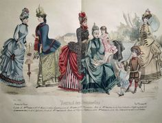GRANDE GRAVURE COULEURS MODE FEMININE ROBES ENFANTS JEUX PARC CHATEAU MAI 1885 | eBay