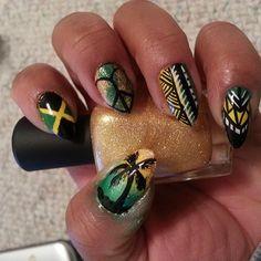 Jamaica Jamaican Flag Nails Design Shellac Kodi Gelpolish Nails