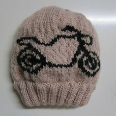 Knitted Beanie with motorbike motif, found a charted bike pattern and using stranded knitting incorporated it into this hat. Knit Beanie, Motorbikes, Knitted Hats, Knitting, Pattern, Tricot, Knit Hats, Breien, Patterns