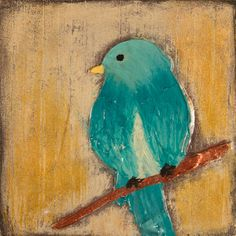 Teal Blue Song Bird SMALL WOODEN ART by EarthyCreationsShop, $18.00