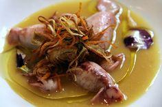Piccoli totani ripieni di patate e brunoise di verdure su crema di patate allo zafferano e ancora verdure fritte - Ristorante Parizzi - Parma