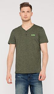 T-shirt in mélange-optiek in groen mix