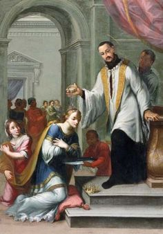 Saint Francis Xavier baptising the Queen of Mexico. Painting by Giuseppe Laudati
