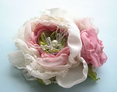 Wedding flower clip Pink Fascinator brooch corsage by Cultivar, $45.00