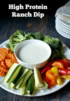 This high protein low carb ranch dip is perfect for getting your protein in while snacking.