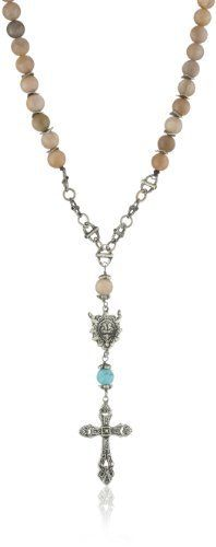 """Love Heals Fatelli, Sunstone Gems and White Bronze Charms Necklace Love Heals. $260.00. 36"""" NECKALCE:  Sunstone gems and white bronze charms with turquoise drop. Made in United States. Items that are handmade and use natural stones, may vary in size, shape and color"""