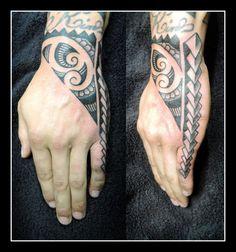 Polynesian hand piece by Alex Hennerley @ Adorned Tattoo, Dorset UK
