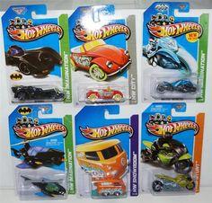 2013 HOT WHEELS LOT OF 6 MAINLINE CARS  HARD TO FIND COLLECTIBLES   1) VW KOOL KOMBI ORANGE  HW SHOWROOM #169/250  2) MAX STEEL MOTORCYCLE BLUE HW IMAGINATION 59/250  3) BATMOBILE HW IMAGINATION #81/250  4) BATCOPTER HW IMAGINATION #64/250  5) STREET NOZ HW STUNT #100/250  6) VW BEETLE CONVERTIBLE RED HW CITY #40/250   $14.88