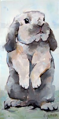 Bunny Rabbit Oil Painting by Gina Brown Art