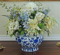 Suburban Charm: Blue and White Monday Blue Hydrangea Centerpieces, Orchid Flower Arrangements, White Floral Arrangements, White Centerpiece, Vase Arrangements, Beautiful Flower Arrangements, Beautiful Flowers, Centerpiece Ideas, Wedding Centerpieces