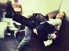 Josh Dallas & Jamie Dornan having fun on set. This could still happen if he would be written back in!