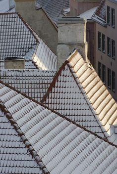 Snowy roofs, Tallinn, Estonia