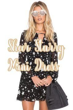 Women s V-Neck Sheer Starry Mini Dress dce424e3b