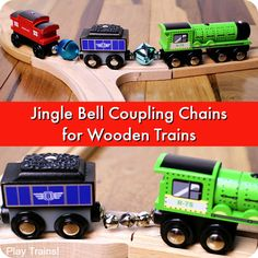Jingle Bell Coupling Chains for Wooden Trains: a fun, hands-on science exploration for Christmas or any time of year from Play Trains!