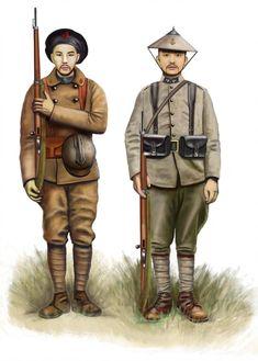 - France, Tirailleurs indochine Annamites by Vietnam History, Vietnam War Photos, World War One, First World, Army Uniform, Military Uniforms, Boxer Rebellion, Italian Army, Austro Hungarian